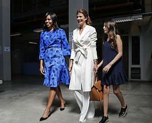 Juliana Awada - Awada alongside the First Lady of the United States, Michelle Obama and her daughter Valentina.