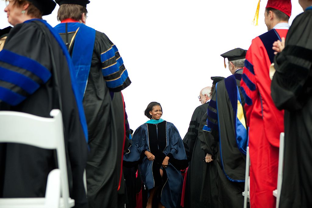 Michelle Obama attends the commencement ceremony at George Washington University, 2010