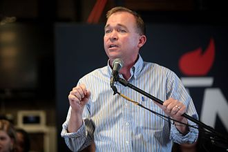 Mick Mulvaney - Mulvaney speaking at a campaign event for Senator Rand Paul in Spartanburg, South Carolina in September 2015.