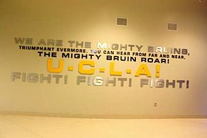 "Mighty Bruins - Lyrics to ""Mighty Bruins"" on display at Pauley Pavilion."