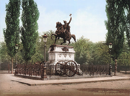 Monument dedicated to Wallachian Prince Michael the Brave (photograph taken between 1890 and 1905). Mihai Viteazul statue.jpg
