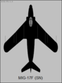 Mikoyan-Gurevich MiG-17F (Izdeliye SN) top-view silhouette.png