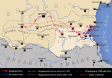 A map of a part of the eastern Balkans detailing Byzantine and Bulgarian military activity in the early 14th century