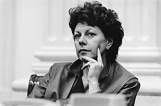Neelie Kroes - Minister of Transport and Water Management Neelie Kroes during a debate in the House of Representatives on 25 January 1983.