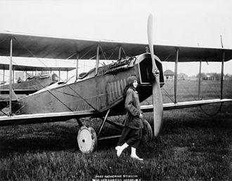 Katherine Stinson - Katherine Stinson and her Curtiss aeroplane.