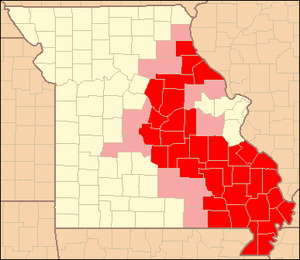 Area code 573 - Area Code 573 (Red: Completely in 573. Pink: Partial)