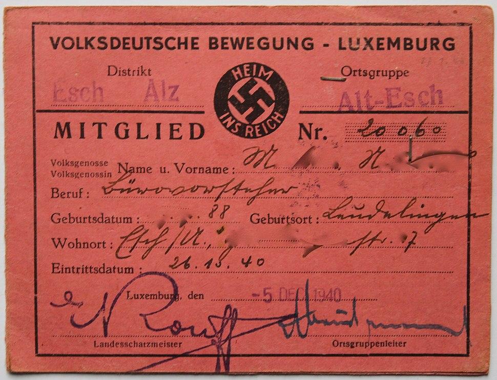Mitgliedsausweis Volksdeutsche Bewegung 1940-09