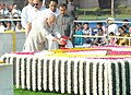 Mohd. Hamid Ansari paying floral tributes at the Samadhi of Mahatma Gandhi on his 143rd birth anniversary, at Rajghat, in Delhi on October 02, 2012. The Union Minister for Urban Development, Shri Kamal Nath is also seen.jpg
