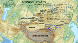 Location of the Khoshut Khanate