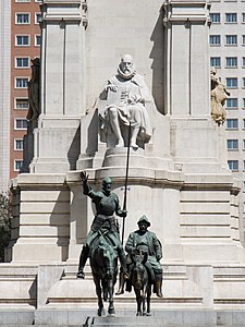 Monument to Miguel de Cervantes, with Don Quixote and Sancho Panza.