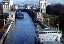Moscow—Volga canal, gate 7 with ships.jpeg