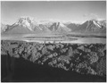 "Mt. Moran and Jackson Lake from Signal Hill, Grand ""Teton National Park,"" Wyoming., 1933 - 1942 - NARA - 519910.tif"