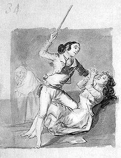 Mujer maltratada con un bastón (Goya)