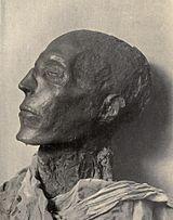 Testa della mummia di Seti I (fotografia di Émile Brugsch).