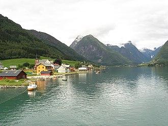 Fjærland - View of Mundal in Fjærland