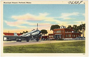 Portland International Jetport - Postcard view c.1940s