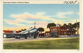 Portland International Jetport - Postcard view c.1940s