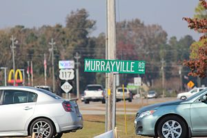 Murraysville, North Carolina - Murrayville Road sign at central junction in Murrayville