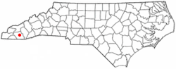 Location of Franklin, North Carolina