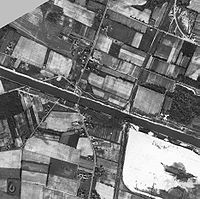 Aerial view in black and white of the area around Cape May in 1944