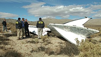 SpaceShipTwo - NTSB Go-Team inspects a tail section of VSS ''Enterprise''