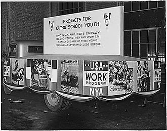 "National Youth Administration - NYA float, ""Projects for Out-of-School Youth"", Inaugural Parade, Washington, D.C., January 20, 1937"