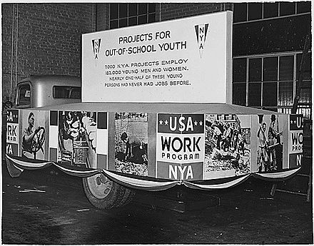 "NYA float, ""Projects for Out-of-School Youth"", Inaugural Parade, Washington, D.C., January 20, 1937"