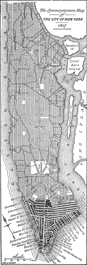 Simeon De Witt - A modern redrawing of the 1807 version of the Commissioners' grid plan for Manhattan, a few years before it was adopted in 1811