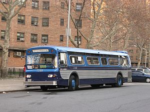 MTA Regional Bus Operations - The early 1970s livery, using a blue base. This bus is operating in special holiday service in 2008.