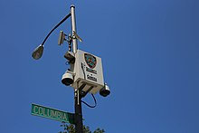 image of NYPD owned and operated CCTV cameras on a lightpole