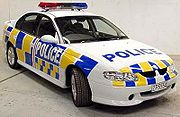 Old model New Zealand Police highway patrol vehicle