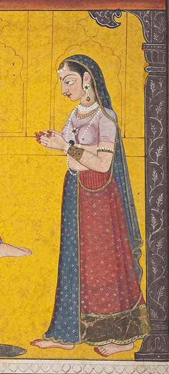 Nurpur State - Kayadhu, mother of Prahlada. Detail of a late 18th-century Nurpur Pahari painting.