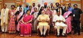 Narendra Modi in a group photograph at an informal interaction with the National Awardee Teachers, on eve of the Teachers' Day, in New Delhi. The Union Minister for Human Resource Development (1).jpg