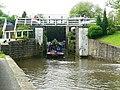 Narrowboat leaving Dowley Gap Locks - geograph.org.uk - 1344774.jpg