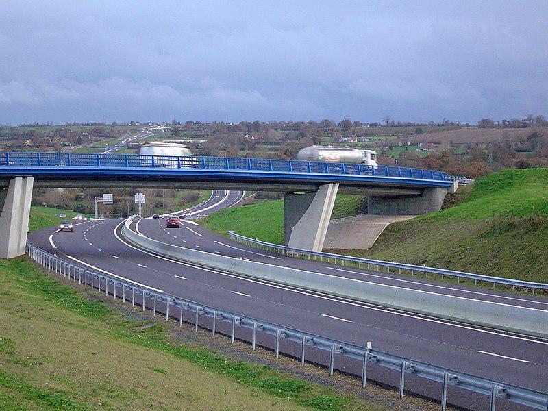 The national road N174 (sortie Saint-Lô-Bayeux/ en direction de Torigny)