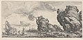 Naval battle with ruined ship and smoking battlements, from 'Italian landscapes' (Diverse vedute designate in Fiorenza - Paysages italiens) MET DP833471.jpg