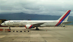 Tribhuvan International Airport - Nepal Airlines Boeing 757-200 '9N-ACB' at the international ramp of the airport.