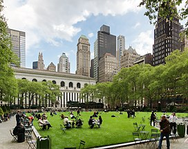 The Great Lawn in Bryant Park, with the New York Public Library in the background