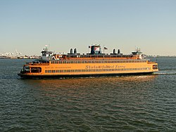 the Kennedy-class American Legion II ferryboat on its way to Staten Island