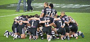 Haka (sports) - The New Zealand rugby league team performing the haka at the 2008 World Cup.