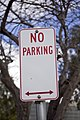 Newly replaced No Parking (old style R5-40) sign at Burns Way in Wagga Wagga.jpg