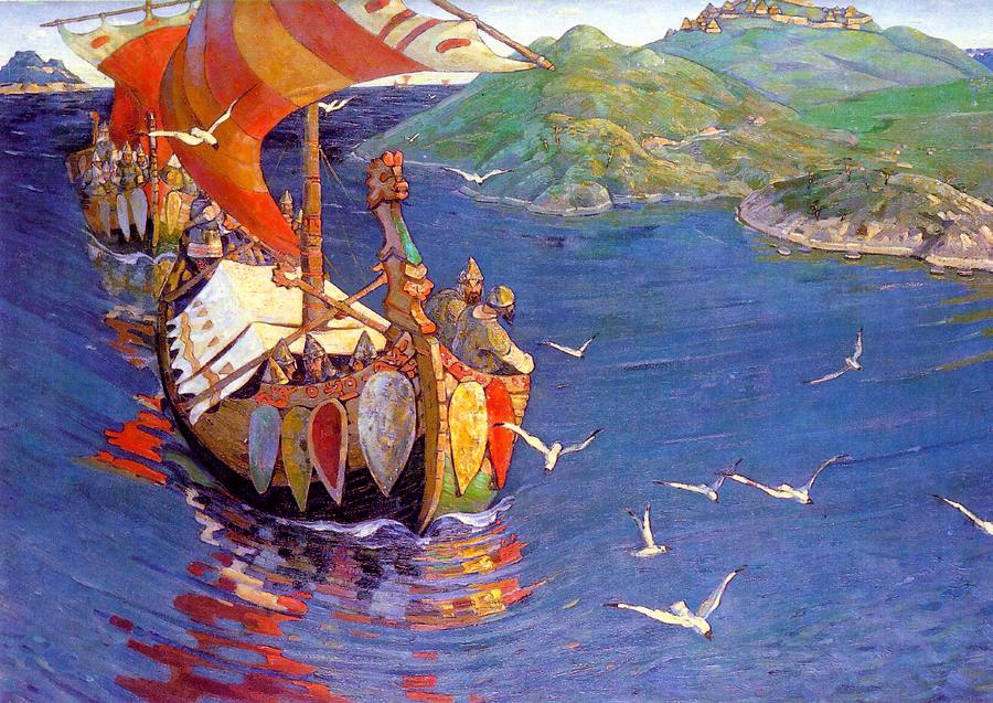 Nicholas Roerich, Guests from Overseas (corrected colour)