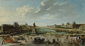 History of Paris - Paris in 1763, by Nicolas-Jean-Baptiste Raguenet, A View of Paris from the Pont Neuf, Getty Museum