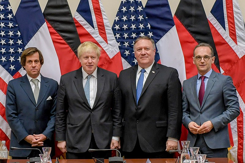File:Nicolas de Rivière, Boris Johnson, Mike Pompeo and Heiko Maas in Brussels - 2018 (40838347435).jpg