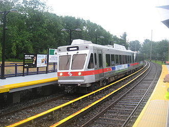Norristown High Speed Line - The NHSL ran two-car trains and played a pivotal role in the infrastructure of the 2013 U.S. Open at Merion Golf Club.