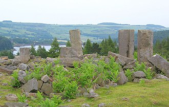 Langsett Reservoir - Ruins of North America Farm, with Langsett Reservoir behind