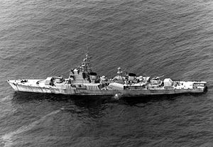 Korean People's Navy - A 1993 aerial port side view of a North Korean Navy Najin class frigate underway.