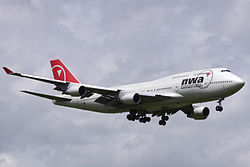Boeing 747-400 der Northwest Airlines