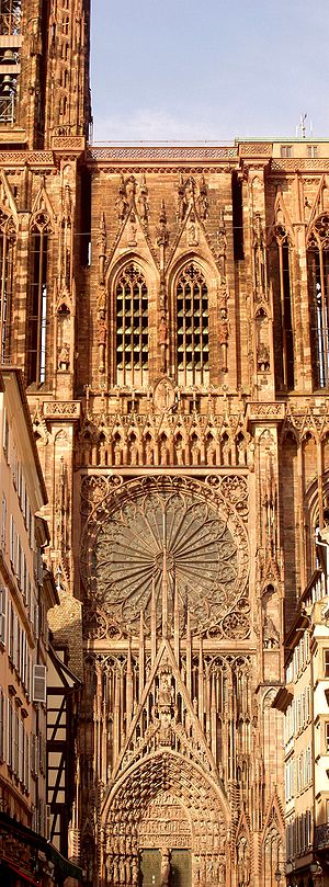 West façade of Our Lady's Cathedral on Strasbourg. May 2004 by User:Kpalion.