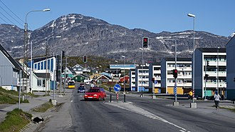 Nuuk is Greenland's capital and the seat of the government. Nuuk-centrum.jpg
